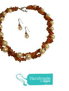 Two Strand White Simulated Swarovski Pearl, Orange Carnelian Necklace Set from Pam Handmade Jewelry and Accessories https://www.amazon.com/dp/B015YPYI76/ref=hnd_sw_r_pi_dp_cqV3xbHX3ZSTY #handmadeatamazon