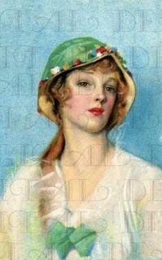 Bel berretto verde - illustrazione Art-Deco