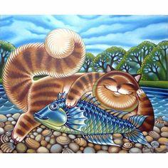 Full Square 5D DIY Diamond Painting Cat Crystal Diamond Painting Cross Stitch Lovely Cat Animal fish Needlework Home Decorative #Affiliate
