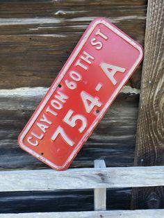 """Vintage Red Steel Street Sign - Old Embossed 20"""" Heavy Steel Sign"""