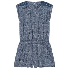 Viscose poplin Pleasant to the touch Light item Flowing cut Crew neck Raindrop opening in the neck Shoulder patches Short sleeves Stitched turn-ups Slant pockets Button in the neck Smocked waistband Elastic waistband Fancy print Embroidered logo Fancy rivets - 42.75 € Tommy Hilfiger, Girls Rompers, Poplin, Smocking, Kids Fashion, Overalls, Crew Neck, Jumpsuit, Short Sleeves