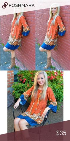 Coming soon!!! Orange and blue Summer dress. New. Off the shoulder but can be worn on the shoulder. Retail Dresses Mini