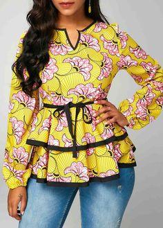 Split Neck Belted Layered Long Sleeve Blouse - Trend Way Dress Latest African Fashion Dresses, African Print Dresses, African Print Fashion, African Dress, African Blouses, African Tops, Red Blouses, Formal Blouses, Kitenge