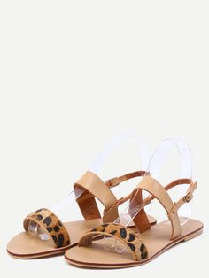 Shop Leopard Print Sandals With Apricot Ankle Strap online. SheIn offers Leopard…