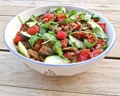 Roasted aubergine, sun-dried tomato and toasted pine nut salad