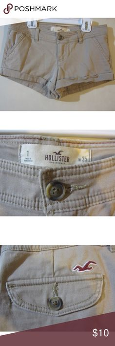 Hollister Khaki Shorts Hollister khaki shorts. Size 1. Hardly worn. A few pulled stings on back shown in picture. Hollister Shorts