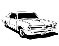 Vintage car coloring pages vw type 2 poster pinterest for Pontiac gto coloring pages