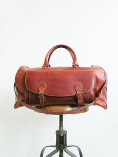 Leather Roadie Bag // Vintage Weekender Bag