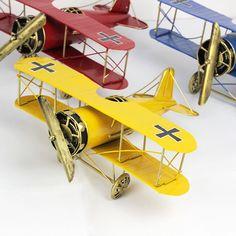 1pc Vintage Metal Plane Model Iron Retro Aircraft Glider Biplane  Pendant Airplane Model Toy Home Christmas Decoration