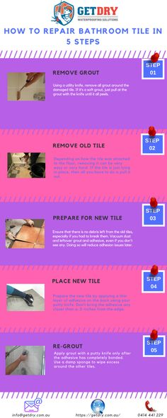 Here are 5 important steps for #tile #grout #repair in bathroom. These steps might help you to overcome your grouting problems.