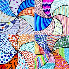 A colored vortex of graphic textures have been created here by students of 6th grade, to test their creativity. Here we havethe instructions to follow in order to realize this drawing with felt-ti…