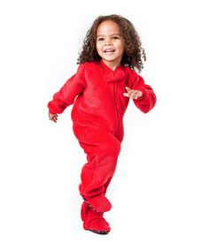 Candy Apple Red - Hooded Footed Pajamas - Pajamas Footie PJs ...