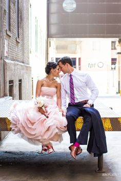I love this wedding picture!!! A Minnesota bride rocks a blush Vera Wang wedding gown - can you believe this dress???