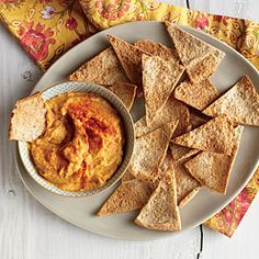 White Bean and Pumpkin Hummus with Pita Chips | MyRecipes.com