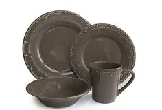 Genevieve 16-Pc Dinnerware Set, Gray on OneKingsLane.com