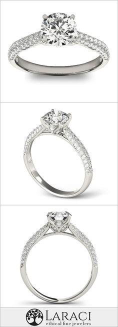 14K White Gold Micro Pavé Moissanite Engagement Ring set with a 1ct (6.5mm) Round Forever Brilliant Moissanite
