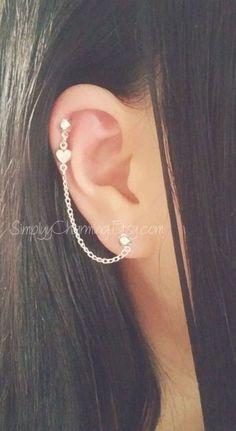 Helix Jewelry, Ear Cuff Jewelry, Helix Earrings, Cartilage Earrings, Chain Earrings, Jewlery, Guys Ear Piercings, Ear Piercings Chart, Pretty Ear Piercings