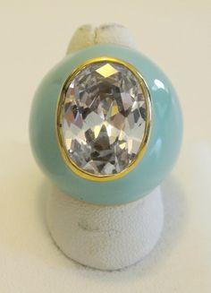 Vintage Aqua Enamel And Crystal Ring  $32.00