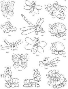Insect Coloring Pages, Butterfly Coloring Page, Colouring Pages, Coloring Sheets, Coloring Books, Insect Crafts, Insect Art, Paper Flower Patterns, Bugs And Insects