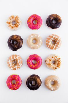 It's a Donut Party! Moist buttermilk donuts are glazed in five different quintessential fall flavors.