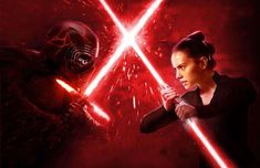 """This is my dark side version of the recent Empire Magazine cover. I took inspiration from the recent trailer. At the end of the trailer the hero """"Rey"""" was shown holding a double bladed red lightsaber in black clothing. Kylo Rey, Kylo Ren And Rey, Rey Dark Side, Red Lightsaber, Star Wars Light Saber, Empire, Rey Star Wars, Star Wars Wallpaper, Star Wars Ships"""