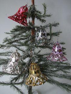 Vintage Bells Filigree Plastic Christmas Ornaments