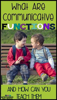 As special educators, do you find yourself trying to decide how to move next in teaching students with autism how to communicate? Think about increasing communicative functions. Being able to use language for different purposes greatly increases its power Communication Activities, Autism Activities, Speech Therapy Activities, Language Activities, Communication Skills, Autism Resources, Classroom Resources, Sorting Activities, Therapy Games