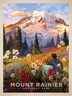 Mount Rainier National Park: Moment in the Meadow - Anderson Design Group has created an award-winning series of classic travel posters that celebrates the history and charm of America's greatest cities and national parks. Founder Joel Anderson directs a team of talented artists to keep the collection growing. This oil painting by Kai Carpenter celebrates the majestic beauty of Mount Rainier National Park.