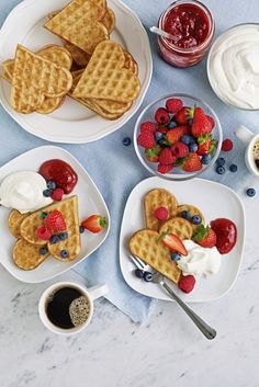 """With Love from The Newlyweds""! Host a post wedding brunch for out-of-town guests with heart-shaped VÅFFLOR waffles with fresh fruit and cream."