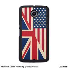 American Union Jack Flag Wood Phone Case