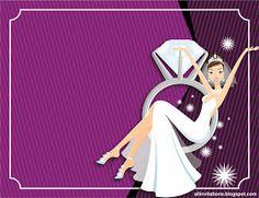 Plantilla invitación despedida novia sentada en anillo