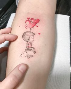 Tattoos For Baby Boy, Baby Name Tattoos, Mommy Tattoos, Tattoo For Son, Family Tattoos, Tattoos For Kids, Mini Tattoos, Body Art Tattoos, New Tattoos