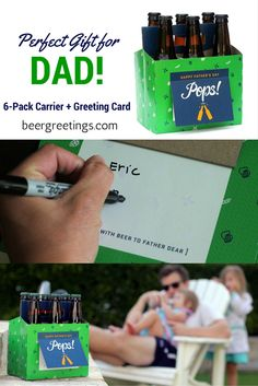 Give all the Dad's in your life - Father, Grandpa, Husband, Brother, Stepdad - a gift they'll truly enjoy this Father's Day - BEER! These clever 6-pack carriers + greeting cards in one allow you to fill out the card with a personal message and fill it up with his favorite 6-pack of beer or a hand curated selection of six different craft beers! A gift he's sure to love. www.beergreetings.com