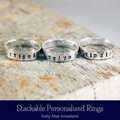 Jewelry Shop, Custom Jewelry, Stackable Name Rings, Stacked Rings, Mother Rings, Personalized Rings, Boho Rings, Bohemian Jewelry, Boutiques