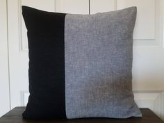 Excited to share the latest addition to my #etsy shop: Black Linen Color Block Pillow Cover Linen Pillow Decorative Throw Pillows Cushion Covers Accent Pillow Natural Linen Colorblock Pillow Case http://etsy.me/2DM5ScS #housewares #pillow #black #linen #black