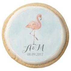 Tropical Flamingo Round Shortbread Cookie - summer wedding diy marriage customize personalize couple idea individuel