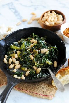 Italian Beans & Greens A classic Italian dish—greens and beans. We use our meaty, tender Cannellini beans with savory escarole and sauté them together with bold garlic Bean Recipes, Side Dish Recipes, Veggie Recipes, Fall Recipes, Vegetarian Recipes, Cooking Recipes, Healthy Recipes, Simple Vegetable Recipes, Recipes Using Beans
