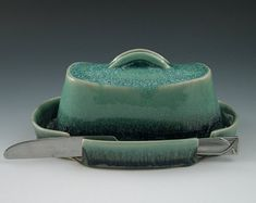 Butter Dish in Aqua and Blue Handmade Pottery by AAslaksonPottery Slab Pottery, Ceramic Pottery, Ceramic Art, Ceramics Projects, Clay Projects, High School Ceramics, Beginner Pottery, Ceramic Butter Dish, Pottery Handbuilding