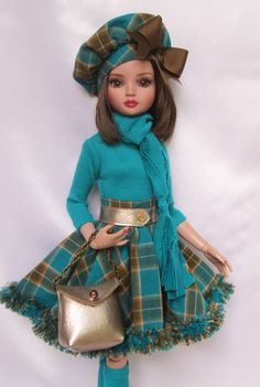 "ELLOWYNE'S PLAID PANACHE OUTFIT! FOR 16"" ELLOWYNE, ETC. MADE BY SSDESIGNS"