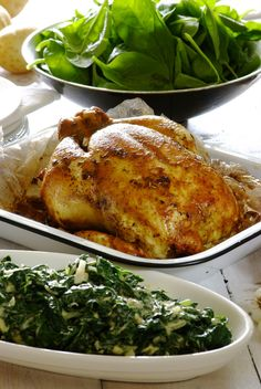 Garlic & Rosemary Roast Chicken with Creamy Spinach. You can't beat a classic roast chicken served with creamy spinach – your family will be begging for more! #dinner #recipes #roastchicken