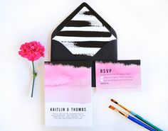 Water color wedding invitation, pink ombre wedding invitation, black and white stripe envelope liner, artistic wedding invitation by Daydream Prints on Etsy