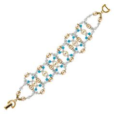 Bridal by Alzerina Dream Haven Swarovski Pearl gold plated bracelet