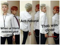I can see these two doing this..... it's hilariously sad. u.u I love these dorks. Rap Monster and V.