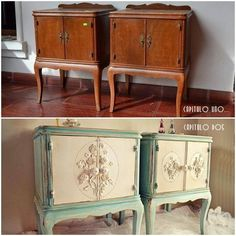 I usually don't care for most of today's tacky re-painted older furnishings, and I especially can't stand repainted fine antiques and fine reproductions. But, these vintage bed stands were nothing special, and now they are lovely! The difference is the appropriateness of the new design with the original shape and size, and the quality of the workmanship. That said, I think I would have done a bit less distressing, if any at all. Re-painted furniture doesn't all have to look 'shabby.'