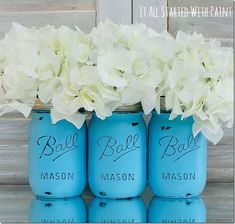 Distressed Mason Jars - Baby Shower Ideas for a Bouncing Baby Boy Pot Mason, Blue Mason Jars, Mason Jar Crafts, Distressed Mason Jars, Turquoise Painting, Pots, Ball Jars, Painted Mason Jars, Coral