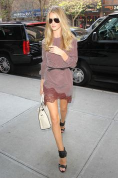 Always love Rosie's style. Here she wears a Stella McCartney dress with Alexander Wang sandals. #fashion #streetstyle ~