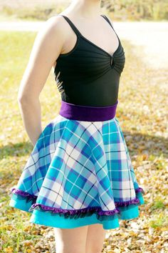#BonnieAqua tartan Full circular skirt by K. Grant Celtic Apparel.
