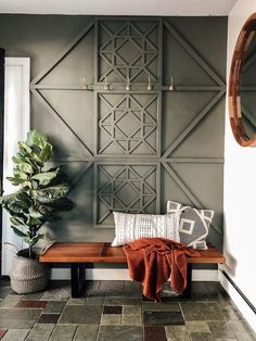 Our New Entryway: With a DIY Wood Feature Wall - accent wall Wooden Accent Wall, Wooden Walls, Tile Accent Wall, Accent Wall Decor, Wall Wood, Wood Art, Diy Wand, Home Design, Interior Design