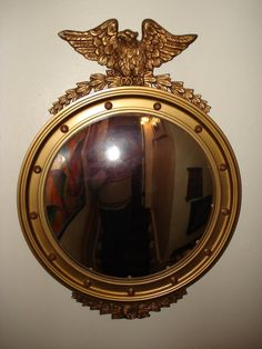 Vintage Eagle Convex Mirror Federal Wood And Plaster Gold