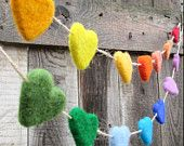 Rainbow felt heart garlands! How lovely!